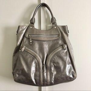 Cole Haan Gigantic Purse! Metallic Leather Gray